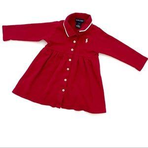 Ralph Lauren Long Sleeve Girl's Red Dress